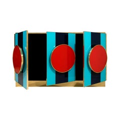 Italian Colored Glass and Brass Sideboard or Credenza