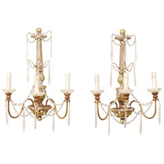 Italian Column-Style Carved-Wood 2-Light Wall Sconces with Crystal Accents, Pair