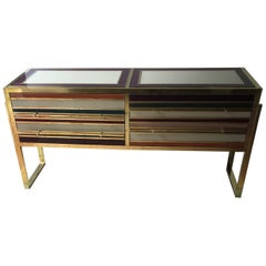 Italian Commode in Tinted Glass and Brass with Four Drawers