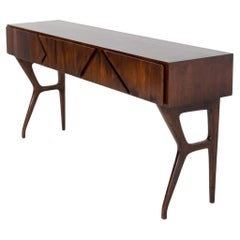 Italian Console Table Attributed to Melchiorre Bega in Walnut Wood