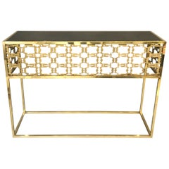 Italian Console Table in Brass the Style of Frigerio