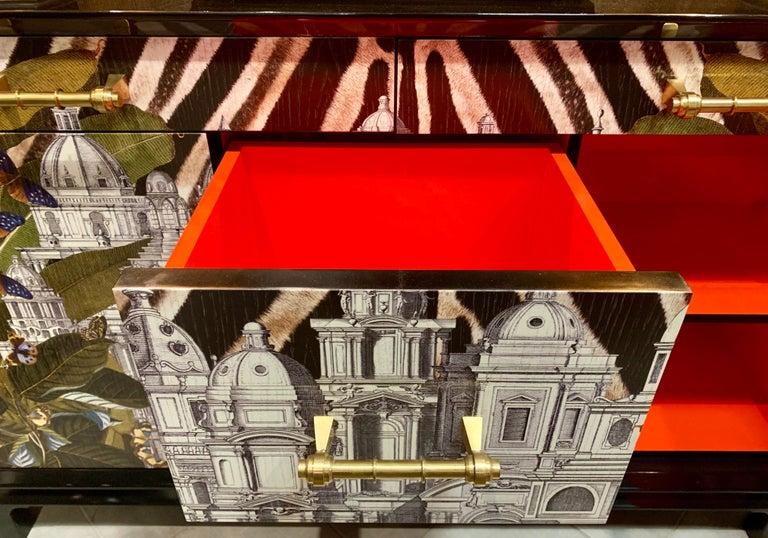Brass Italian contemporary art sideboard For Sale