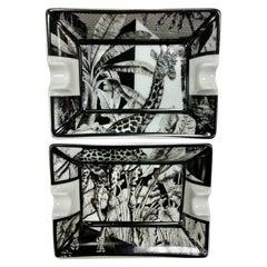 "Italian Contemporary ""Black and Wild"" collection Giraffe Porcelain Ashtray"