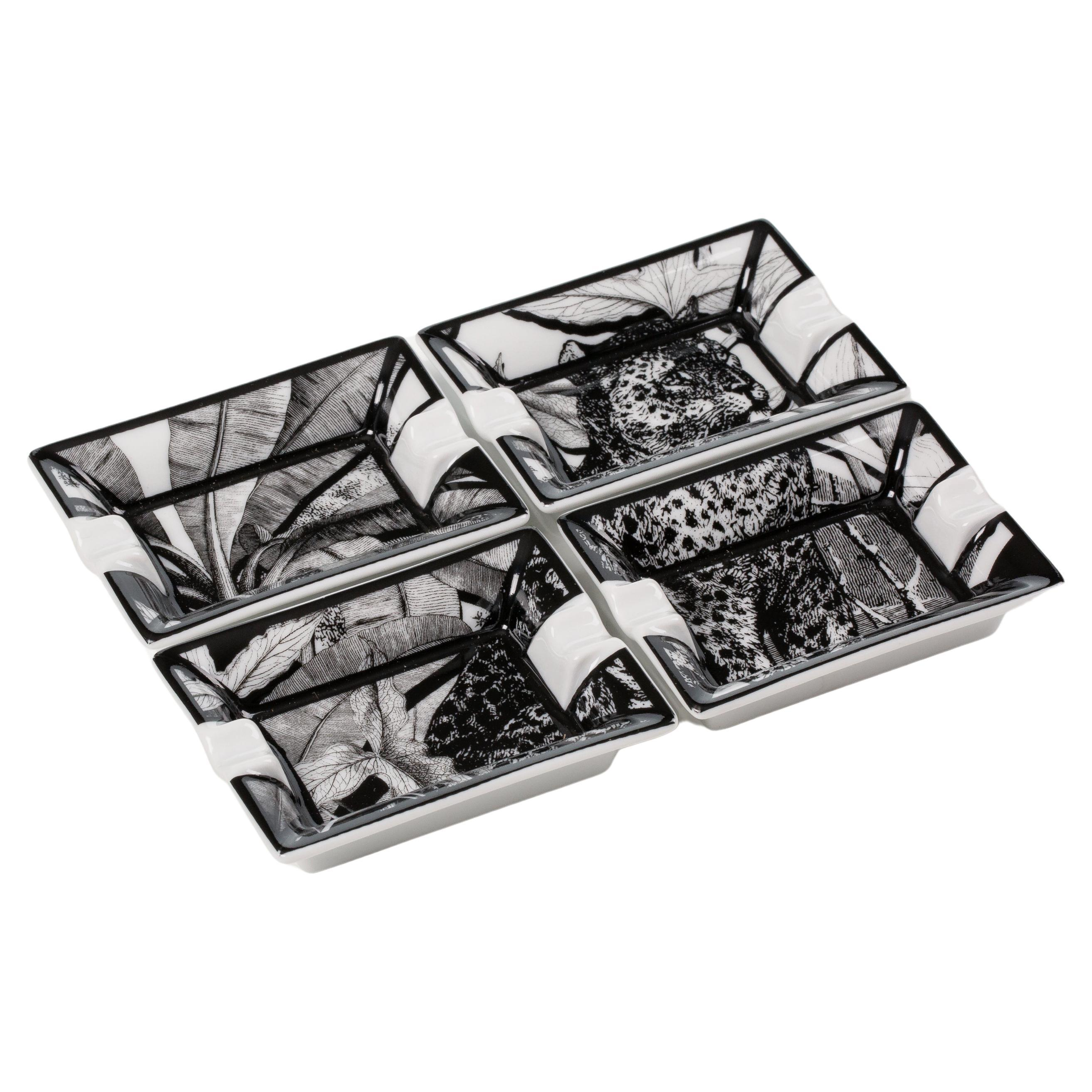 """Italian Contemporary """"Black and Wild"""" collection Jaguar Porcelaine Ashtray"""