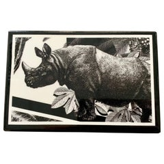 "Italian Contemporary ""Black and Wild"" Collection Rhino Wood Box"