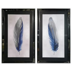 Italian Contemporary Blue Feather Print with Mirrored Frame Set of Two