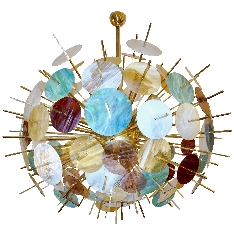 Italian Contemporary Brass & Pastel Murano Glass Oval Sputnik Modern Chandelier