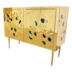 Italian Contemporary Design 2-Door Brass Cabinet with Blue Green Purple Agate