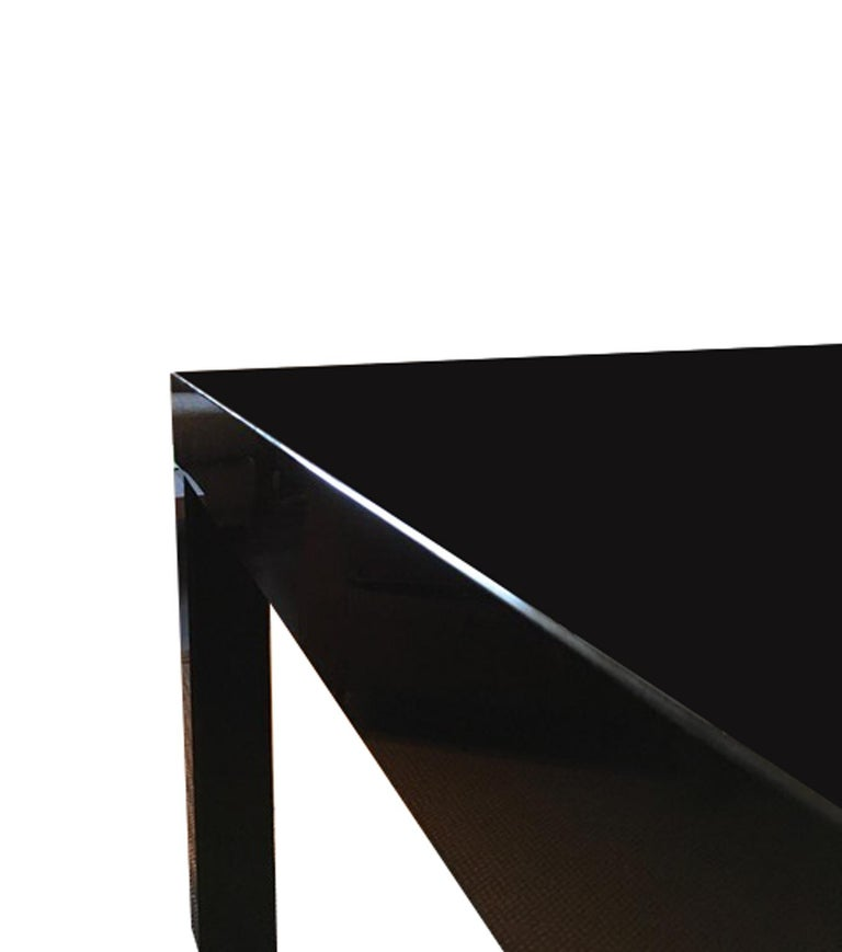 Italy Contemporary Design Black Glass Dining Table in Minimal Style For Sale 7