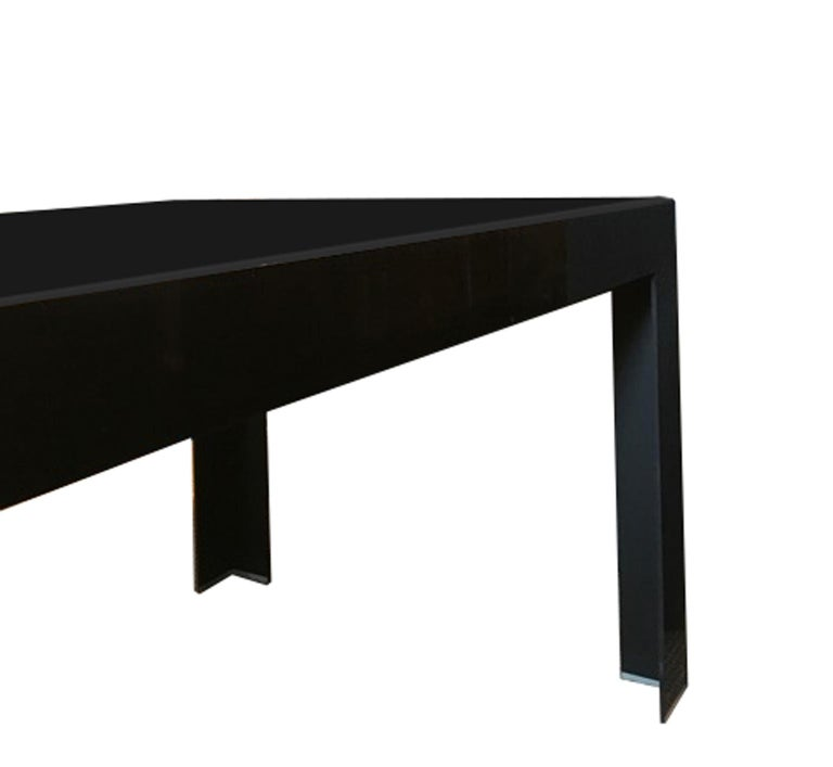 Italy Contemporary Design Black Glass Dining Table in Minimal Style For Sale 8