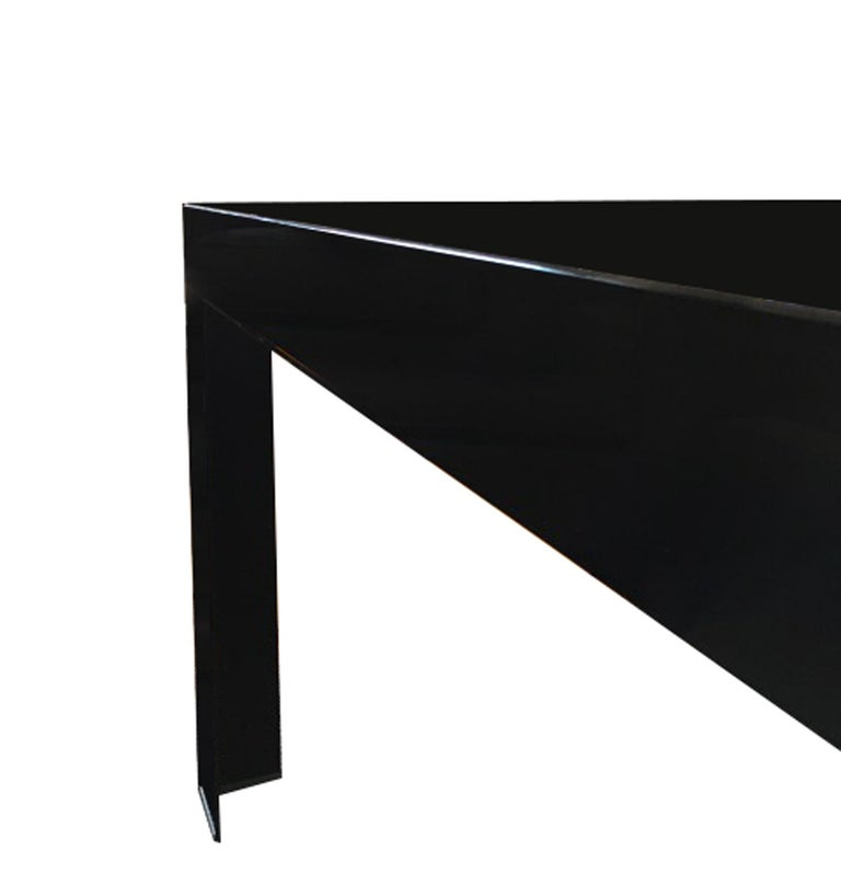 Italy Contemporary Design Black Glass Dining Table in Minimal Style For Sale 12