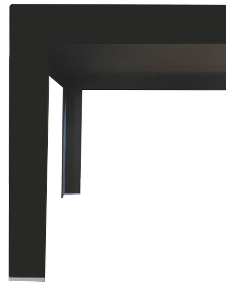 Italy Contemporary Design Black Glass Dining Table in Minimal Style In Good Condition For Sale In Brescia, IT