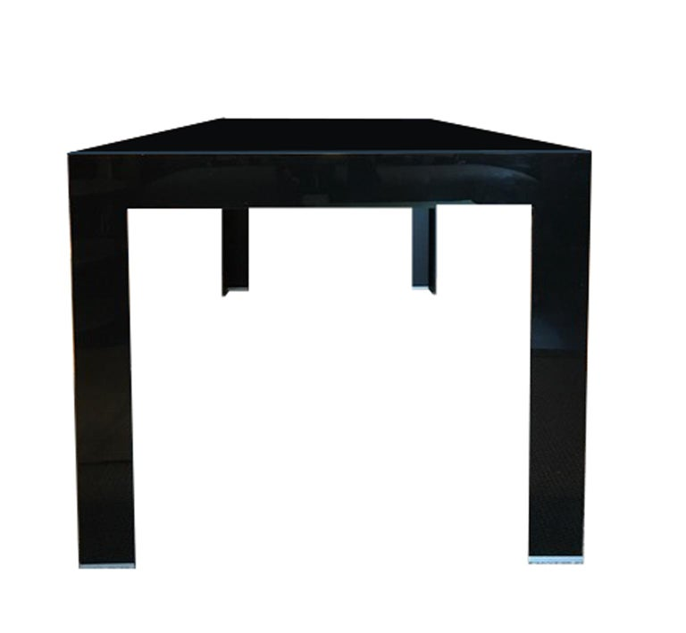 Italy Contemporary Design Black Glass Dining Table in Minimal Style For Sale 6
