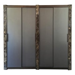 Italian Contemporary Design Black Marble and Oak Wood Wardrobe