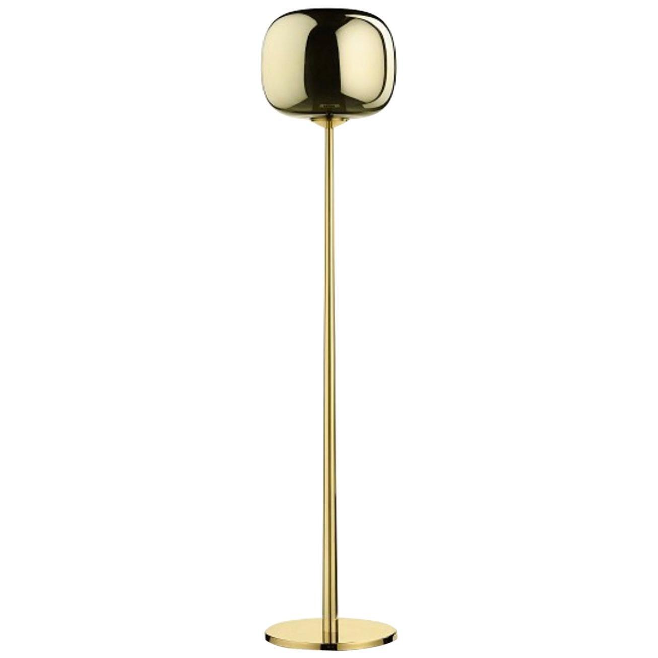 Italian Contemporary Design Ghidini 1961 Brass Floor Lamp with Metalized Glass