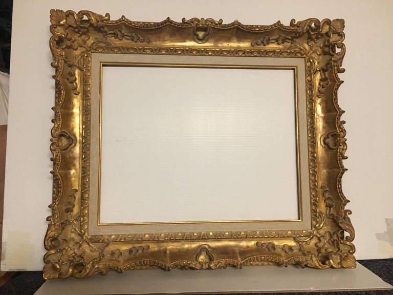 Italian Contemporary Hand-Carved Wood Frame with Gold Leaf Cover ...
