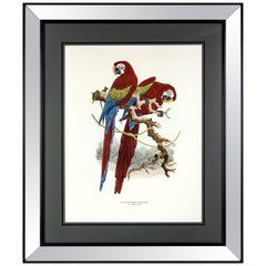 Italian Contemporary Hand Colored Print with Mirrored Wooden Frame