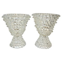 Italian Contemporary Hand Craft Pair of Crystal Rostrato Murano Glass Lamps