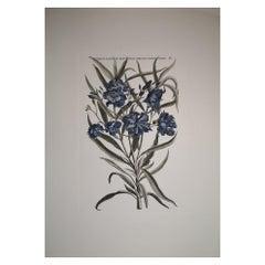 """Italian Contemporary Hand Painted Botanical Print """"Nerium Latifolium"""""""