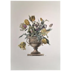 Italian Contemporary Hand Painted Yellow and Light Rose Tulips Vase