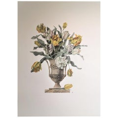 Italian Contemporary Hand Painted Yellow and White Tulips Vase