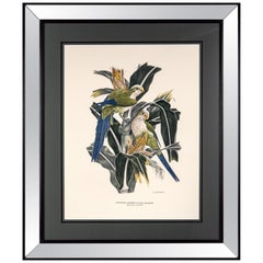 Italian Contemporary Handcolored Print with Mirrored Wooden Frame