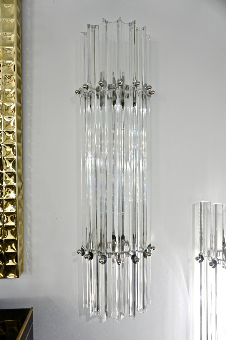 Italian Contemporary Minimalist Pair of Nickel & Crystal Murano Glass Sconces In New Condition For Sale In New York, NY
