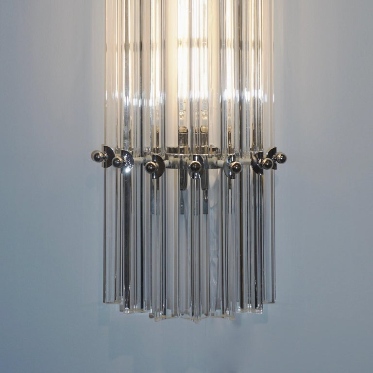 Metal Italian Contemporary Minimalist Pair of Nickel & Crystal Murano Glass Sconces For Sale