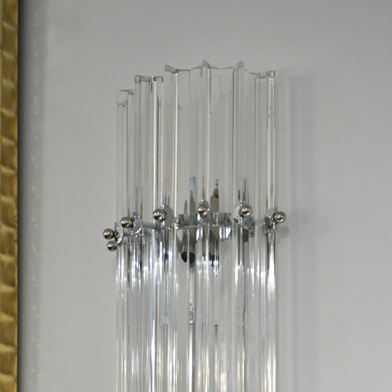 Italian Contemporary Minimalist Pair of Nickel & Crystal Murano Glass Sconces For Sale 1