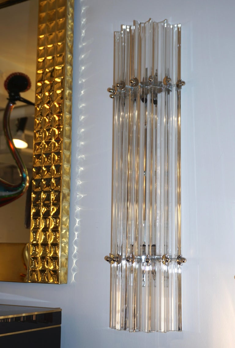 Italian Contemporary Minimalist Pair of Nickel & Crystal Murano Glass Sconces For Sale 2