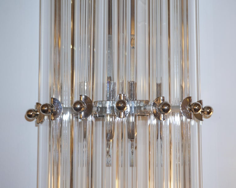 Italian Contemporary Minimalist Pair of Nickel & Crystal Murano Glass Sconces For Sale 3