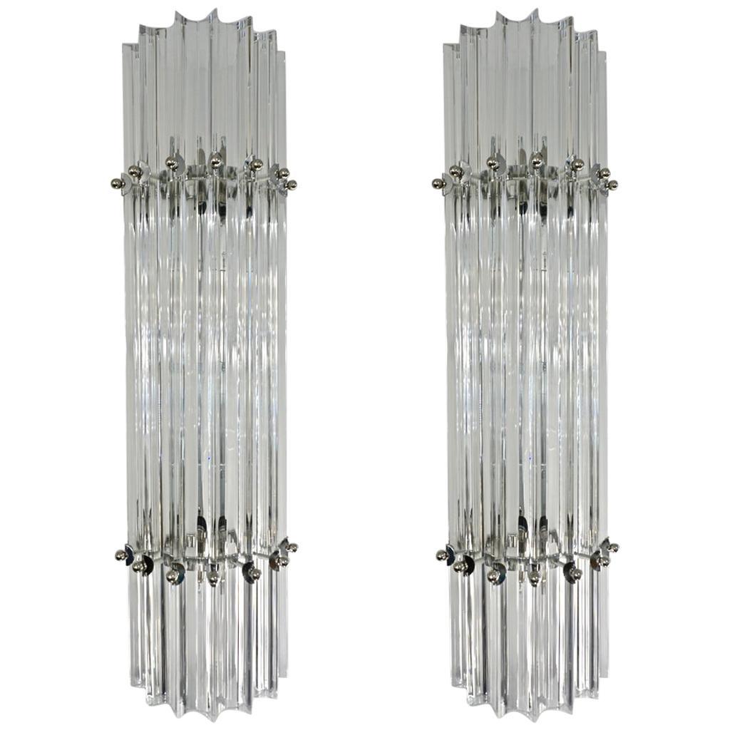 Italian Contemporary Minimalist Pair of Nickel & Crystal Murano Glass Sconces