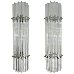 Italian Contemporary Minimalist Pair of Nickel & Crystal Murano Glass Sconces