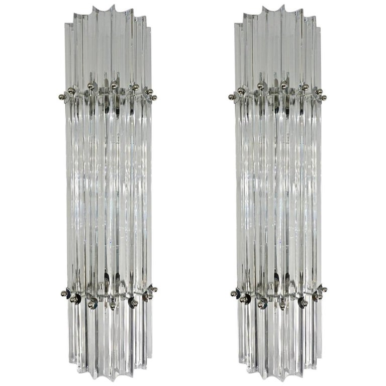 Italian Contemporary Minimalist Pair of Nickel & Crystal Murano Glass Sconces For Sale