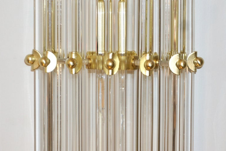 Metal Italian Contemporary Minimalist Pair of Satin Brass Crystal Murano Glass Sconces For Sale