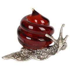 Italian Contemporary Murano Glass Mounted Silver Snail
