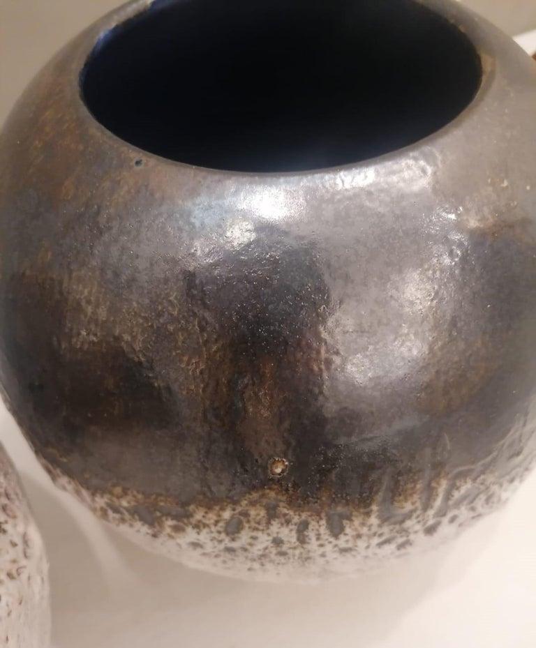 Italian Contemporary Unique Glazed Ceramic Vases with Spherical Shape, Minori For Sale 6