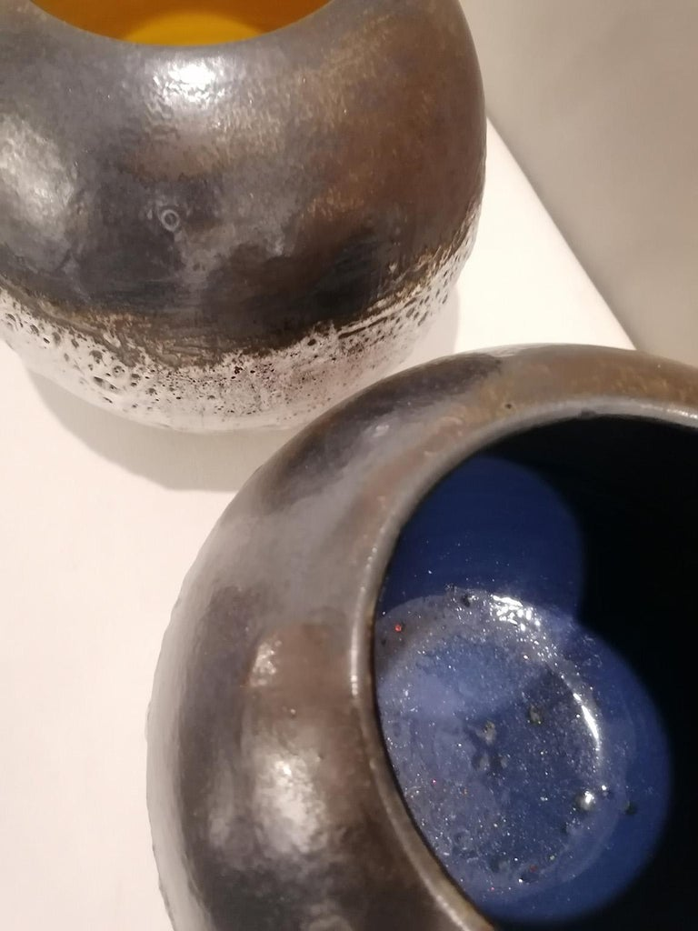 Mid-Century Modern Italian Contemporary Unique Glazed Ceramic Vases with Spherical Shape, Minori For Sale
