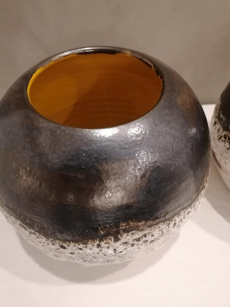 Italian Contemporary Unique Glazed Ceramic Vases with Spherical Shape, Minori For Sale 2