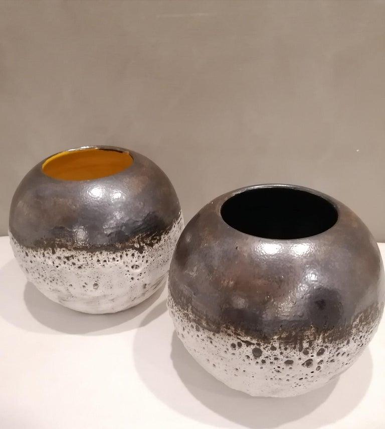 Italian Contemporary Unique Glazed Ceramic Vases with Spherical Shape, Minori For Sale 4