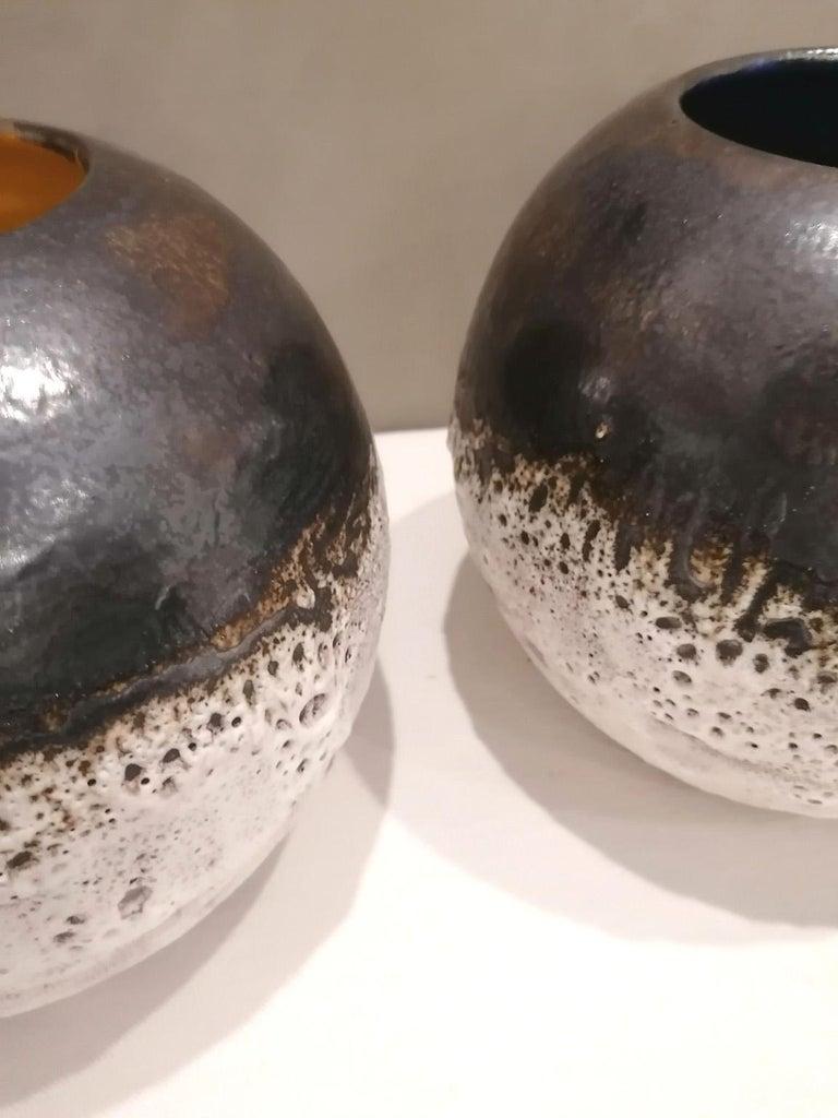 Italian Contemporary Unique Glazed Ceramic Vases with Spherical Shape, Minori For Sale 5