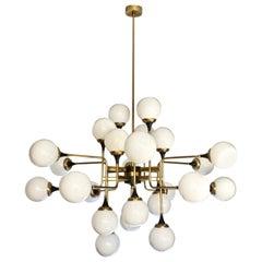 Italian Contemporary White Black & Brass 24-Light Modern Asymmetric Chandelier