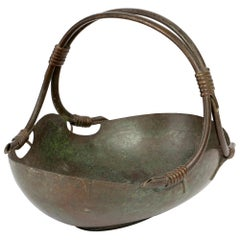 Italian Continental Art Deco Bronze Handled Basket Shaped Fruit Bowl