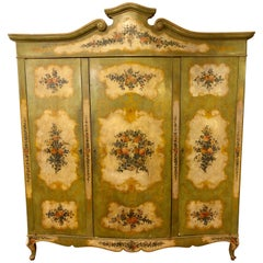 Italian Continental Floral Painted Wardrobe or Armoire Chest Cabinet