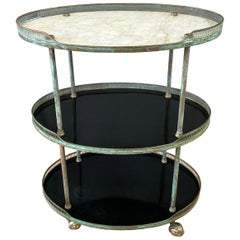 Italian Copper and Marble Tall Oval Three-Tier Bar or Serving Cart, 1950s