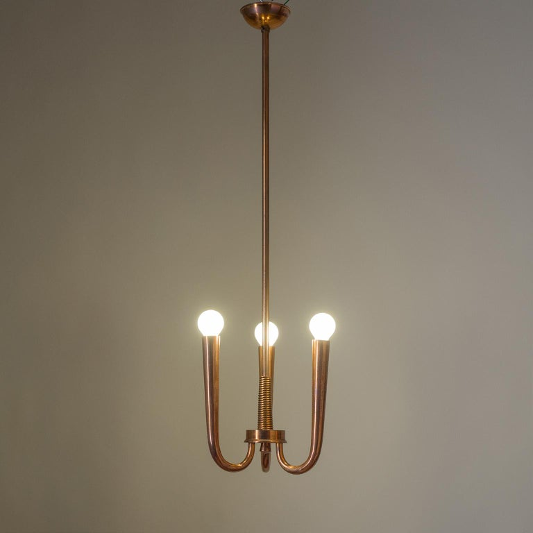 Art Deco Italian Copper Chandelier, 1930s For Sale
