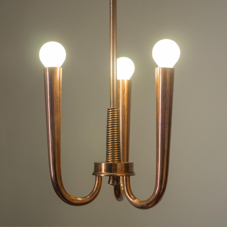 Italian Copper Chandelier, 1930s In Good Condition For Sale In Vienna, AT