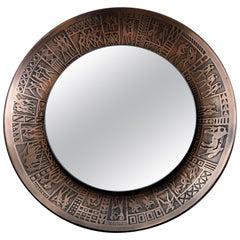 Italian Copper Mid-Century Modern Round Wall Mirror by M.Furgeri