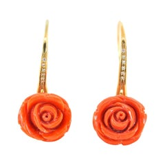 Italian Coral and Diamond Gold Earrings