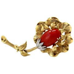 Italian Coral, Diamond and Gold Flower Brooch